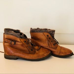 Vintage Tan Leather Sweater Booties With Buckles